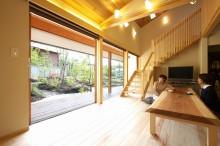 富士宮 新築 リビング 木製サッシ 掘りごたつ