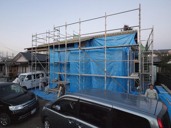 富士宮市の新築住宅 雨養生