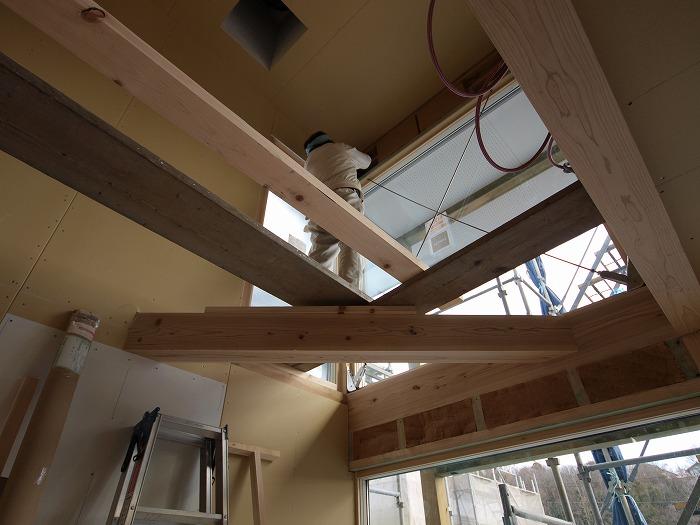 三島市新築住宅 薪ストーブの家 吹き抜け