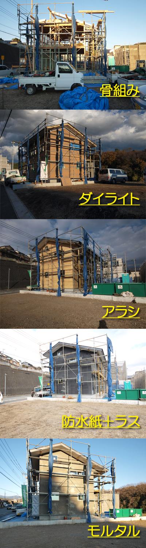 三島市新築住宅 薪ストーブの家 外壁の変化