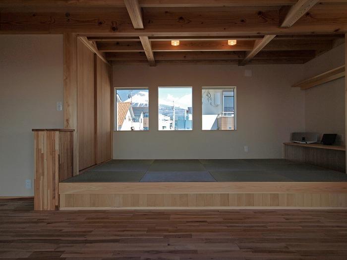富士市新築住宅 二階リビングから富士山