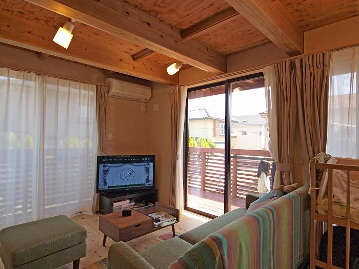 静岡県三島市 木造三階建て新築住宅 デッキとの繋がり