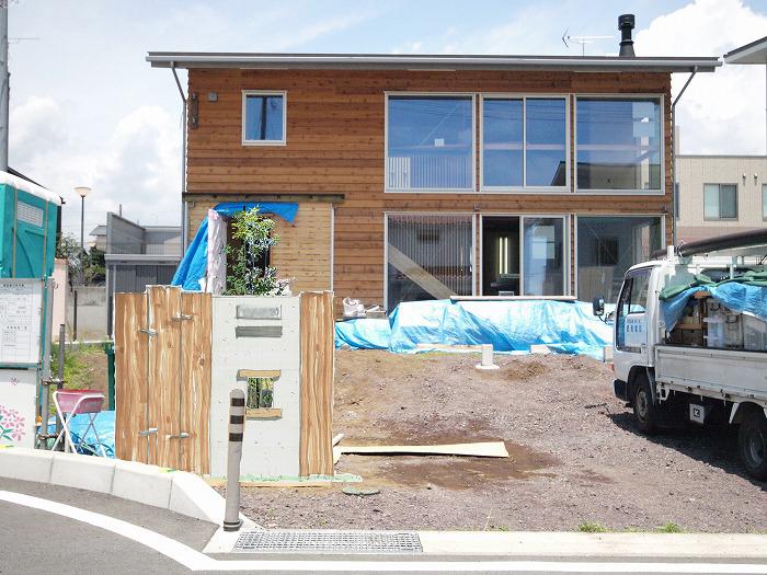 富士宮市 新築住宅 モルタル造形の門柱