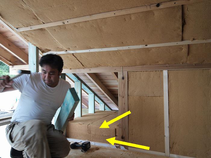 富士宮市 新築住宅 木質繊維断熱材の施工