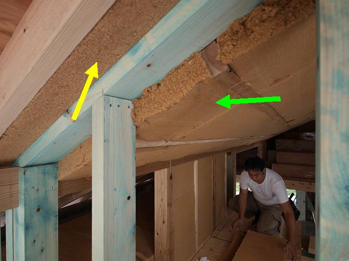 富士宮市 新築住宅 屋根の木質繊維断熱材
