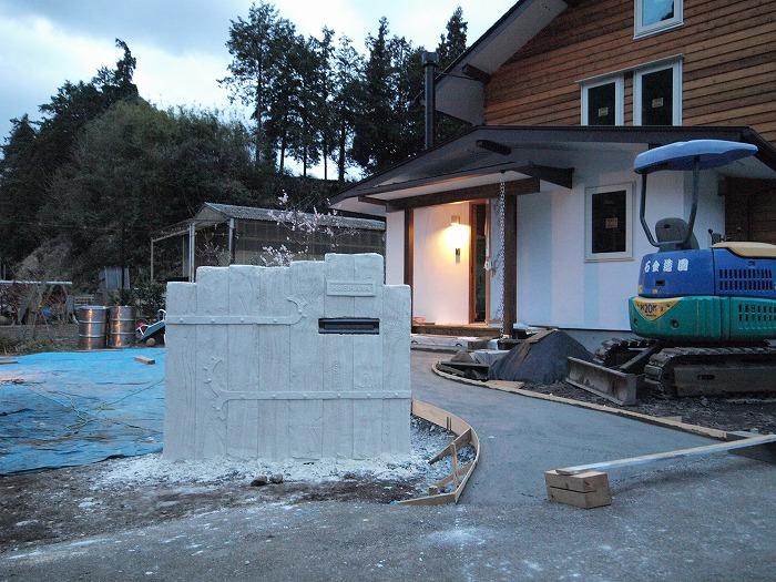 富士市 新築住宅 門柱とモルタル造形