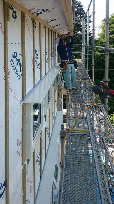 富士宮市新築住宅 薪ストーブの家 軒工事