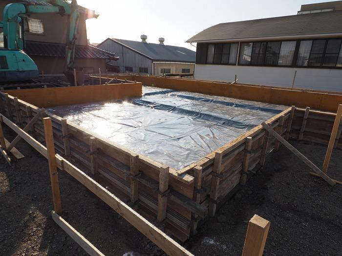 富士市 新築住宅モデルハウス 防湿・防蟻シート施工完了