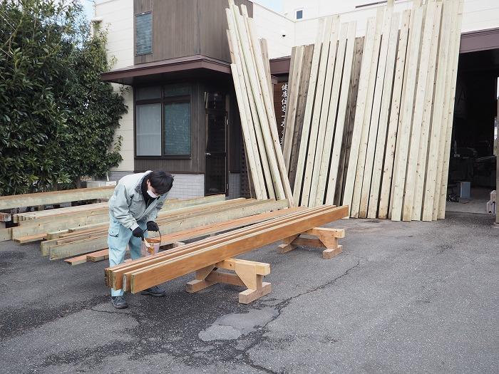 富士市 新築住宅 ウッドデッキの準備