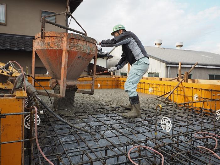 富士市 新築住宅 コンクリート打設