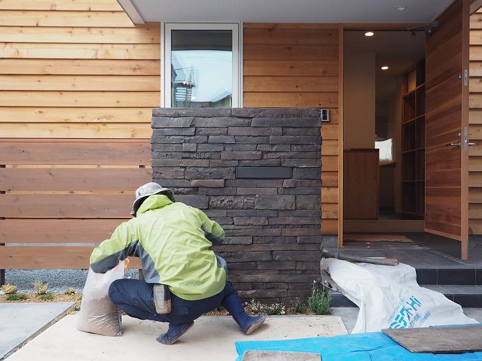 富士市 新築住宅 門柱 エイジング