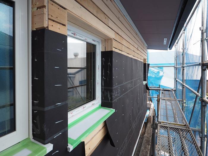 モデルハウス 左官壁の防水紙