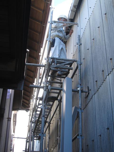 倉庫 雨樋の修理