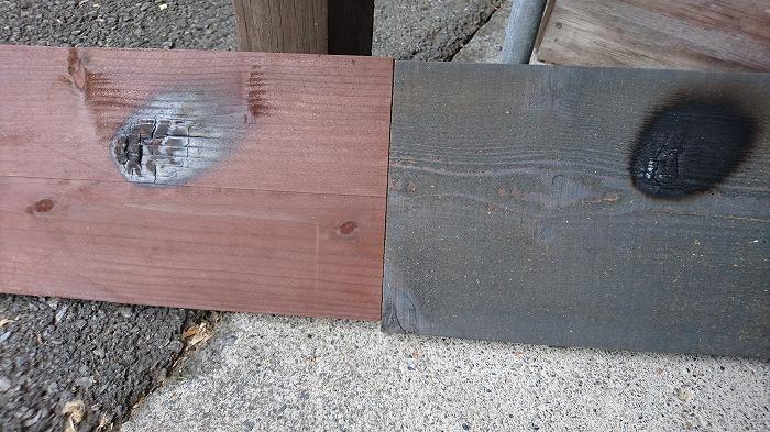 燃えない木の外壁 比較実験