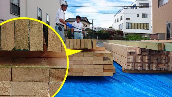 沼津市 新築住宅工事 天竜桧の間柱