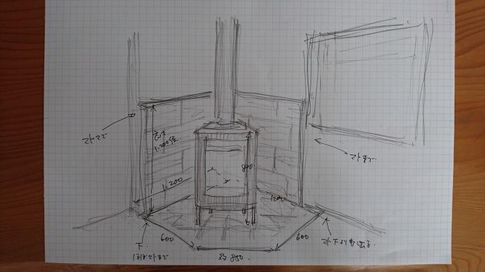 富士市 新築住宅工事 薪ストーブ防火壁予定図