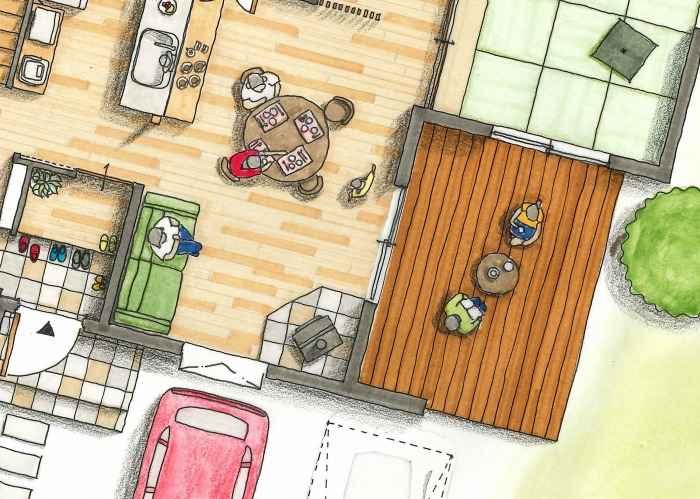 富士市 薪ストーブの家 完成見学会間取り