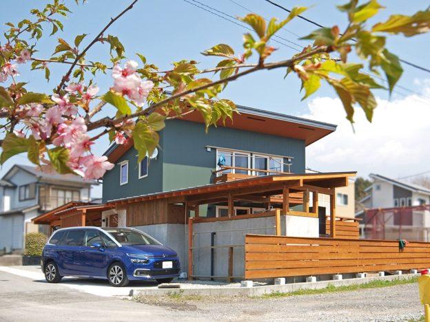 河津桜と緑のガルバリウムの外壁がよく馴染む。DIYによるアウトドアキッチンや物置の片流れが母屋の屋根と折り重なって美しい。