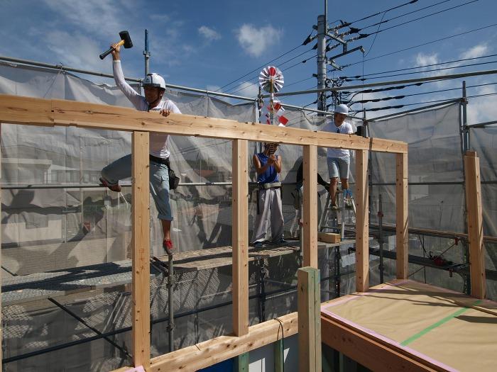 富士市では大工の手加工で上棟