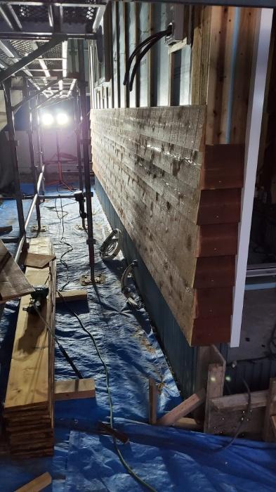 木のサイディング施工
